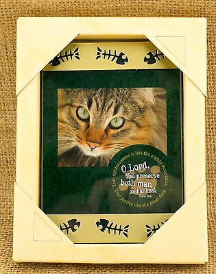 Cat Frame Glass & Metal with Fish Skeleton  - Perfect Cat Lover Gift!