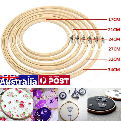 AU 6pcs/Set Wooden Cross Stitch Machine Embroidery Hoop Ring Bamboo Sewing Craft