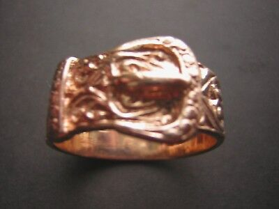 9ct ROSE GOLD BUCKLE RING  NICE