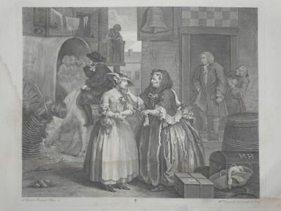 Harlots Progress - Moll Ankunft London - William Hogarth - Kupferstich - 1880