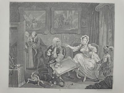 Harlots Progress - Moll Kurtisane Kaufmann - William Hogarth - Kupferstich 1880