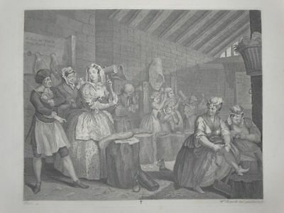 Moll im Gefängnis - Harlots Progress - William Hogarth - Kupferstich 1880