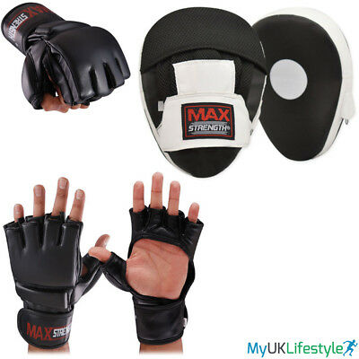 Cut Finger Grappling Gloves Boxing Focus Pads Set Hook and Jab Muay Thai MMA