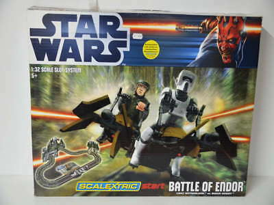 Star Wars Rennbahn Battle Of Endor Scalextric 1:32 in geöffneter OVP C1288