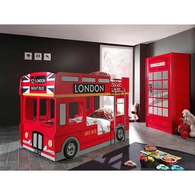 "Paris Prix - Pack - Lit Superposé Enfant Bus & Armoire 2 Portes Cabine ""Londres"""