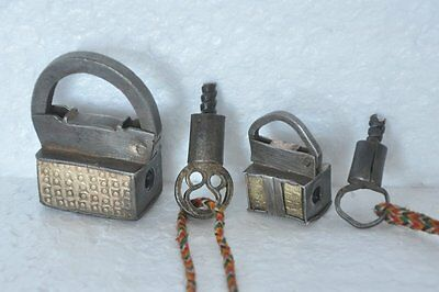 2 Pc Old Iron Brass Fitted Engraved Unique Shape Screw System Padlock