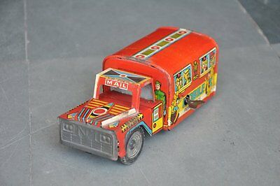 Vintage MRT 1974 Mobile Post Office Wind Up Litho Tin Toy , Collectible