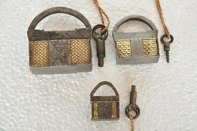 3 Pc 1930's Old Iron Handcrafted Brass Decorated Screw System Padlock