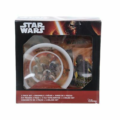 Star Wars E7 The Force Awakens 3 Piece Childrens Kids Dinner Set Plate Bowl Cup