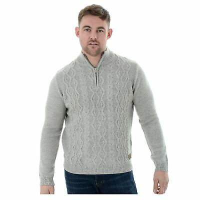 9e17a151ec3eb3 Mens Threadbare 1/4 Zip Funnel Neck Knit Sweater Jumper Grey Marl S-XXL