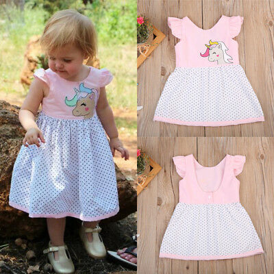 Sweet Toddler Baby Girls Kid Unicorn Party Pageant Dress Hoilday Dresses Clothes