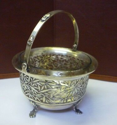Antique Chinese Solid Silver Faux Bamboo Basket+Liner