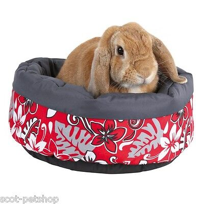 Round Cosy Pet Bed Flower Design Red Rabbit Small Rodent Guinea Pig 35 cm