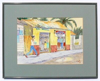 A folk painting watercolor scene from either Haiti or the Dominican Republic.