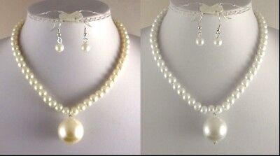White Or Cream With Large Drop Glass Pearl Necklace & Earrings Set