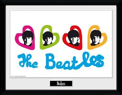 The Beatles - Love Hearts Poster Plakat Gerahmt (40x30cm) #90540