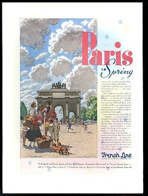 1936 Pierre Brissaud GREAT Paris art French Line vintage print ad