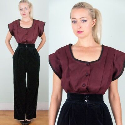 VICTORIAN/Antique Vtg 1890s RED+BLACK WOOL BODICE TOP AMAZING Scoop DESIGN XS/S