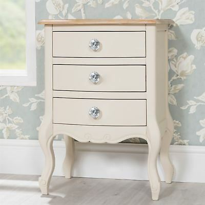 Juliette Shabby Chic Drawer Bedside Table with crystal handles - Champagne