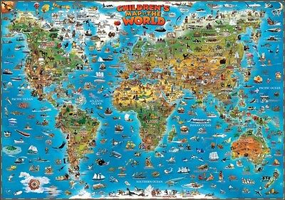 Childrens Map of the World flat laminated map dino (Dino Wall Maps for Children.