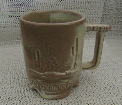 """Frankoma Pottery.. 4"""" Desert Gold Road Runner Cactus Coffee Cup Or Mug #c1"""