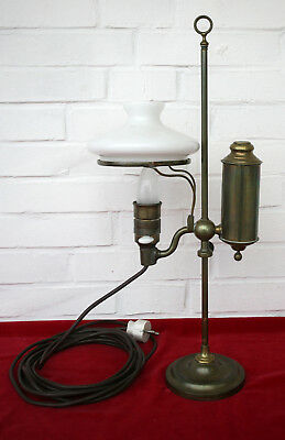 Tischlampe - Kolonialstil - Messing / Opalglas