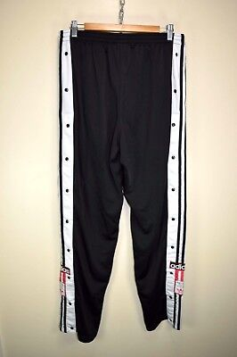 vtg 90s ADIDAS POPPER POPPERS RARE TRACK BOTTOMS TRACKSUIT TROUSERS PANTS D9 XL