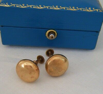A Pair Of Late C19th Victorian Era 9ct Gold Button Stud Earrings Of Decent Size!