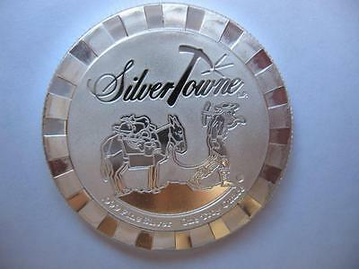 1 Oz.999 Silver Stackable Silvertowne Prospector Poker Card Guard Coin  + Gold