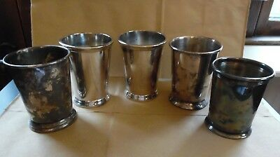 Lot of 5 International Silver Co sheridan Mint Julep Cups