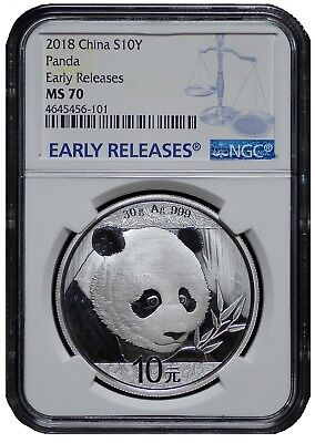 2018 China 10 Yuan Silver Panda NGC MS70 - Early Releases - Blue Label