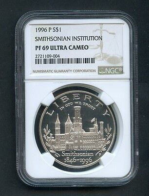 1996-P Smithsonian Institution Silver Commemorative Dollar NGC PF 69 Ultra Cameo
