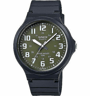 Casio MW240-3B Men's Black Resin Band Easy Reader Green Dial 3-Hand Watch