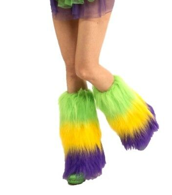 Mardi Gras Furry Leg Covers Fluffies Festival Accessory Purple Yellow Green Fur
