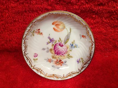 Antique Dresden Fine Porcelain Tulip & Flowers Butter Pat, p142  GIFT QUALITY!!