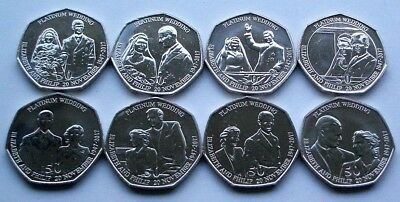 COMPLETE SET OF 8 x NEW 2017 ISLE OF MAN PLATINUM ROYAL WEDDING 50p COINS