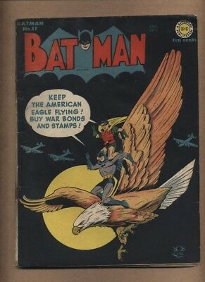 Batman 17 (Solid!) Classic WWII cover; Penguin; Robin; Golden Age; 1943 (c#16410