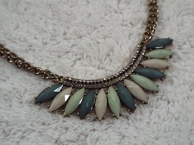 Goldtone Green Beige Cabochon Rhinestone Scoop Necklace (C29)
