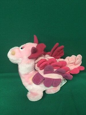 Vintage Small  Bemores Pink Dragon  1987 Soft Toy