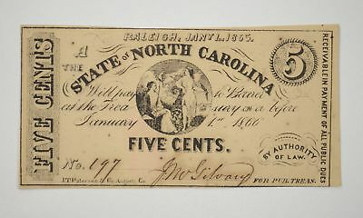 Rare 1860's North Carolina Note $0.05 Five Cents Hand Signed Civil War Era *027