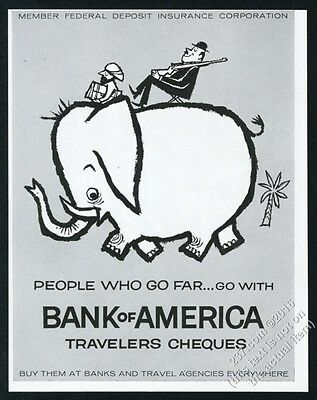 1955 elephant CUTE art Bank of America Travelers Cheques vintage print ad