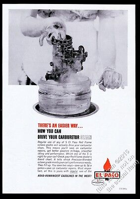 1964 El Paso Red flame gas gasoline carburtetor photo vintage print ad