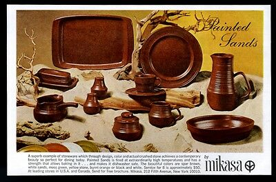 1968 Mikasa Painted Sands stoneware plate cup pitcher photo vintage print ad