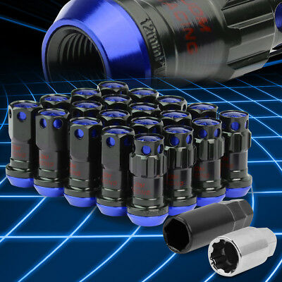 Spline Drive Rim Lug+Lock Nuts M12x1.25 Closed-End 22mm OD 45mm 20pcs Set/Blue