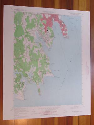 New Bedford South Massachusetts 1965 Original Vintage USGS Topo Map