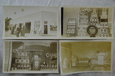 4 Vintage 1930s Photos Tires Lube & Oil Display at Gulf Gas Station 830004
