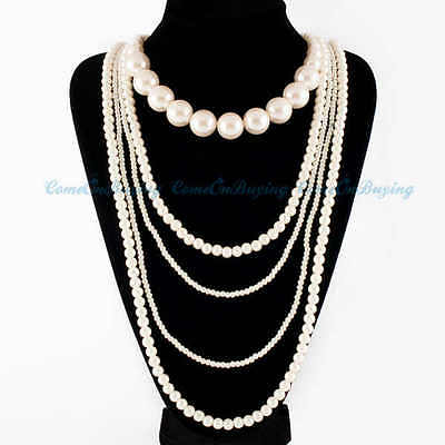 Fashion Multilevel White Pearl Beads Cluster Chain Choker Bib Long Necklace