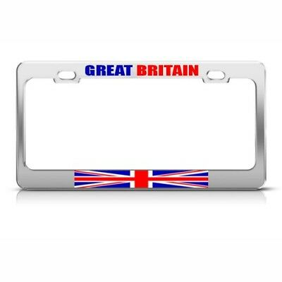 GREAT BRITAIN FLAG WHITE Metal License Plate Frame BRITISH FLAG ...