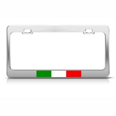 ITALY ITALIAN ITALIANO FLAG Metal License Plate Frame Tag Holder Two Holes