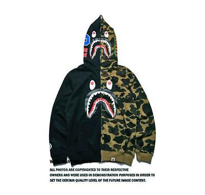 Shark Camouflage Bape Full Zip Hoodie Unisex Thin Sweatshirt Bathing ape Jacket